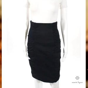 NANETTE LEPORE Dark Navy Ruched Sides Pencil Skirt